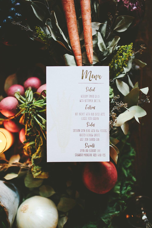 menu paper goods - photo by Shots by Cheyenne https://ruffledblog.com/farm-to-table-wedding-inspiration-in-nashville
