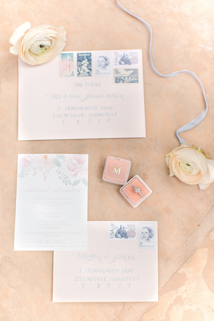 romantic feminine wedding stationery - photo by Amy and Jordan Photography http://ruffledblog.com/feminine-floral-wedding-in-the-arizona-desert