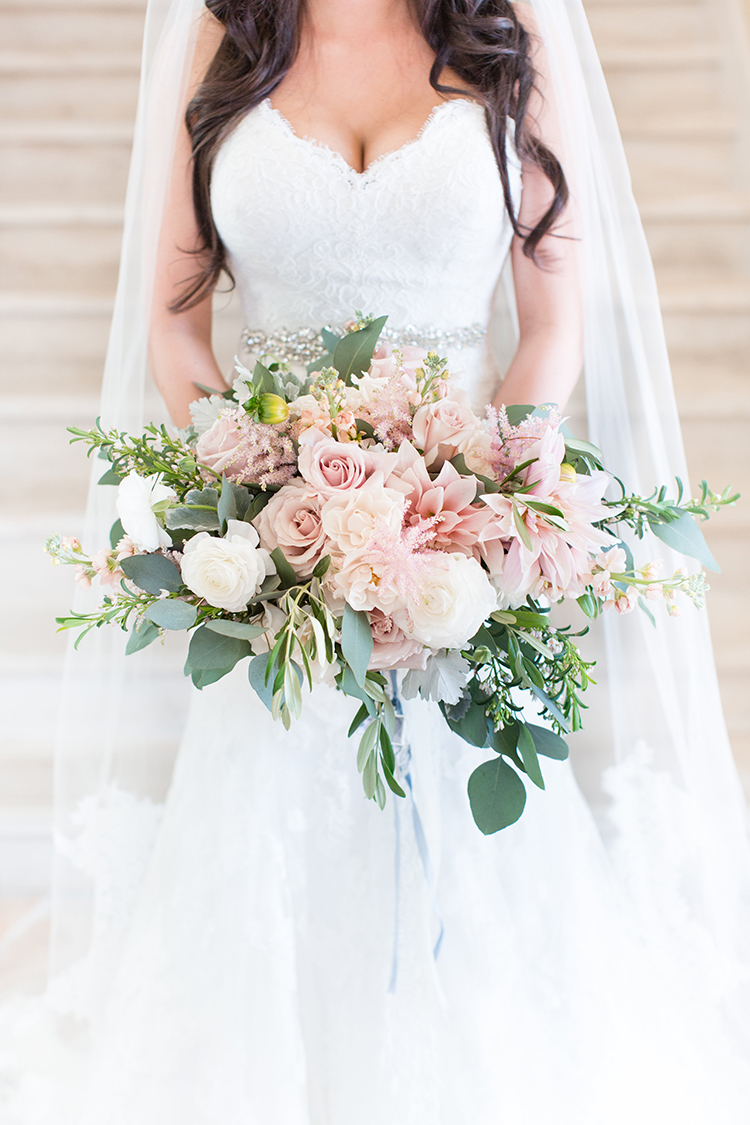romantic blush pink wedding bouquets - photo by Amy and Jordan Photography https://ruffledblog.com/feminine-floral-wedding-in-the-arizona-desert