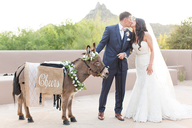 beer burros at weddings - photo by Amy and Jordan Photography https://ruffledblog.com/feminine-floral-wedding-in-the-arizona-desert