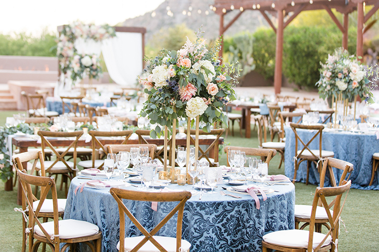 romantic wedding receptions - photo by Amy and Jordan Photography http://ruffledblog.com/feminine-floral-wedding-in-the-arizona-desert