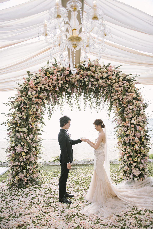 Pastel Pink Floral Wedding Altar Arch