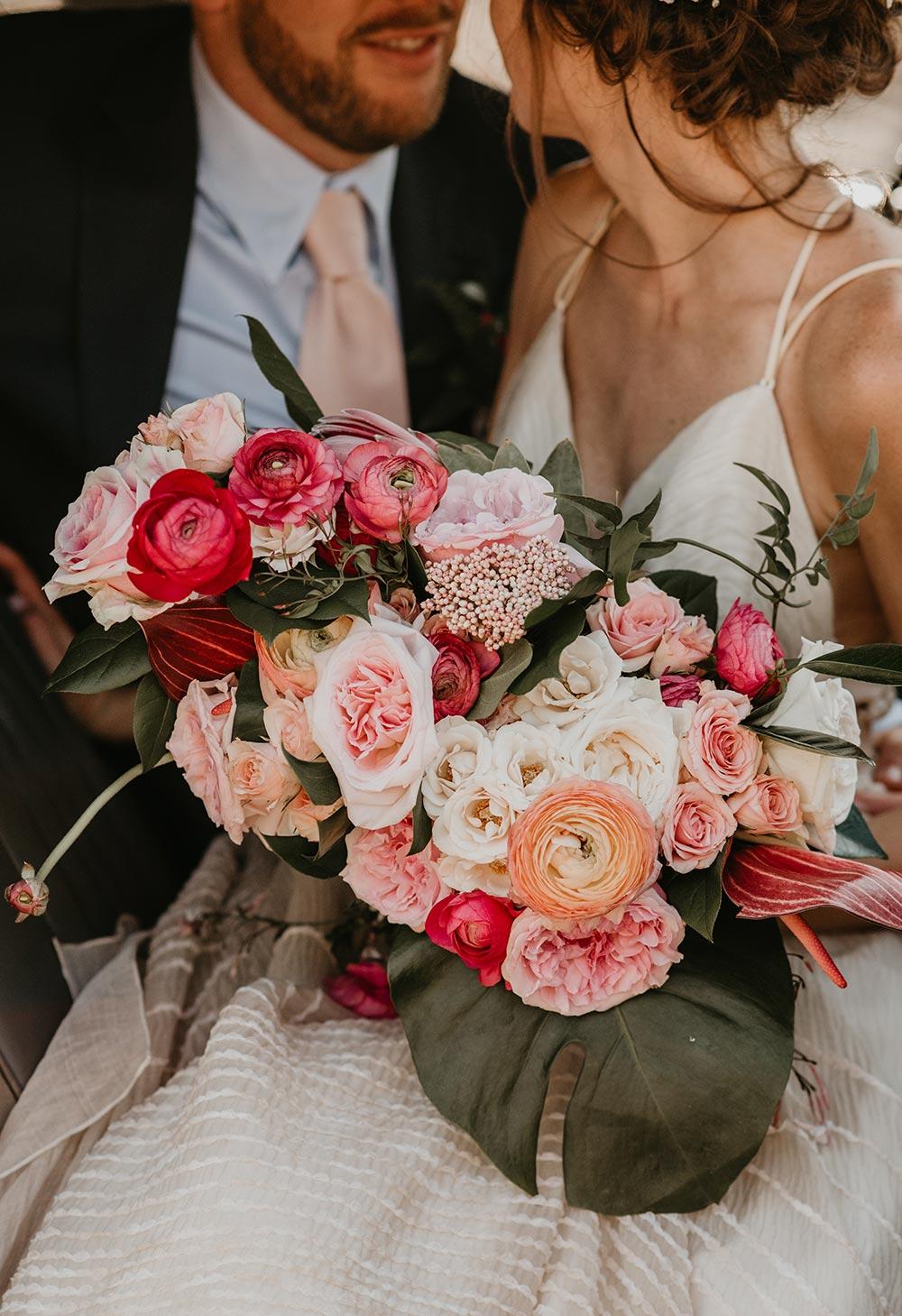 tropical fuchsia bridal bouquet