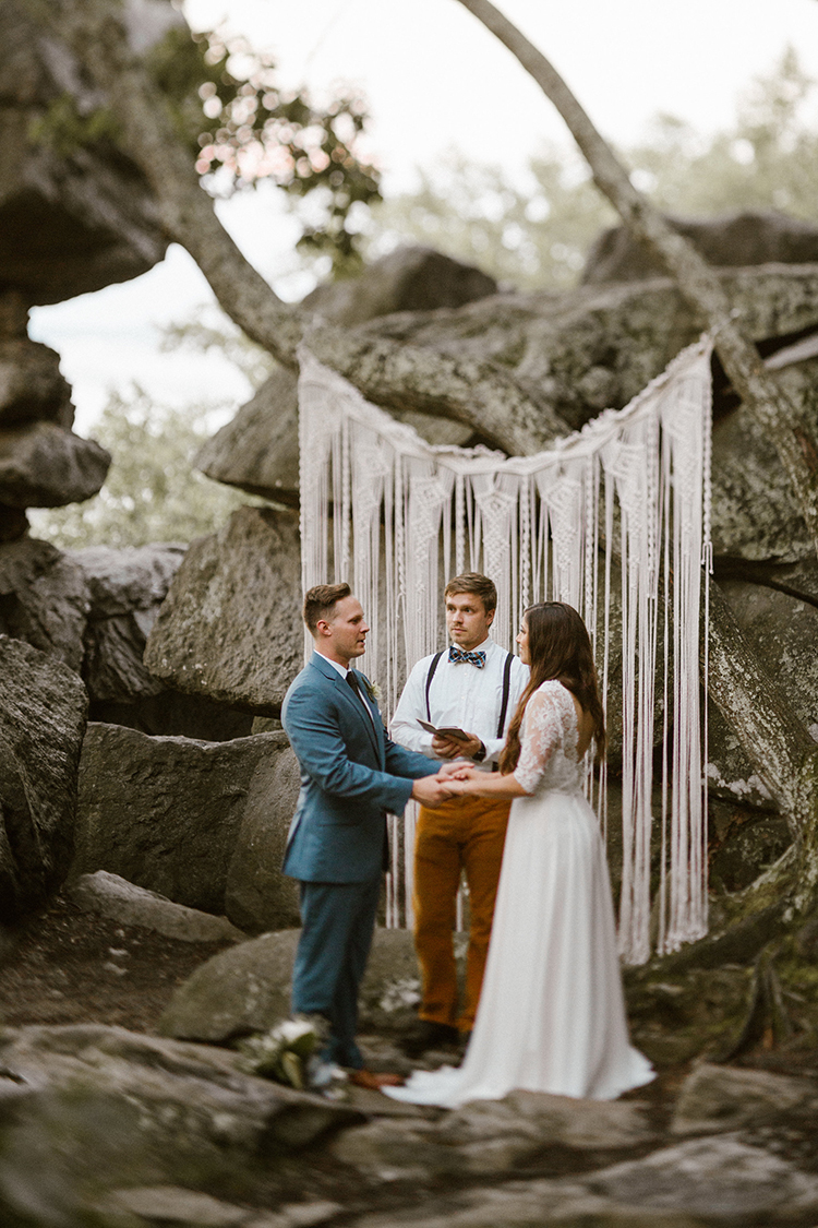 Foggy Mountaintop Elopement Inspiration with Macrame - photo by Victoria Selman https://ruffledblog.com/foggy-mountaintop-elopement-inspiration-with-macrame