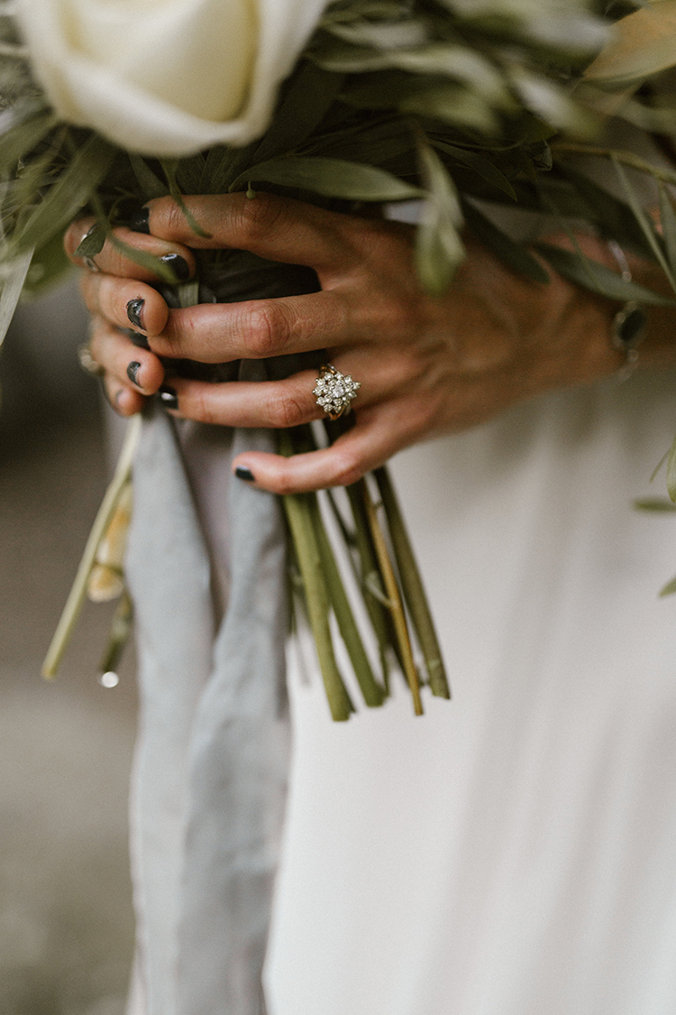 unique diamond engagement rings - photo by Victoria Selman https://ruffledblog.com/foggy-mountaintop-elopement-inspiration-with-macrame
