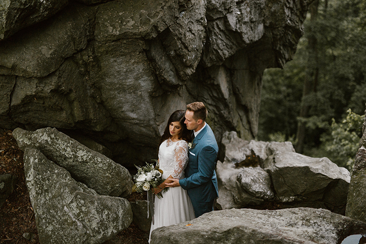 wedding portraits - photo by Victoria Selman https://ruffledblog.com/foggy-mountaintop-elopement-inspiration-with-macrame