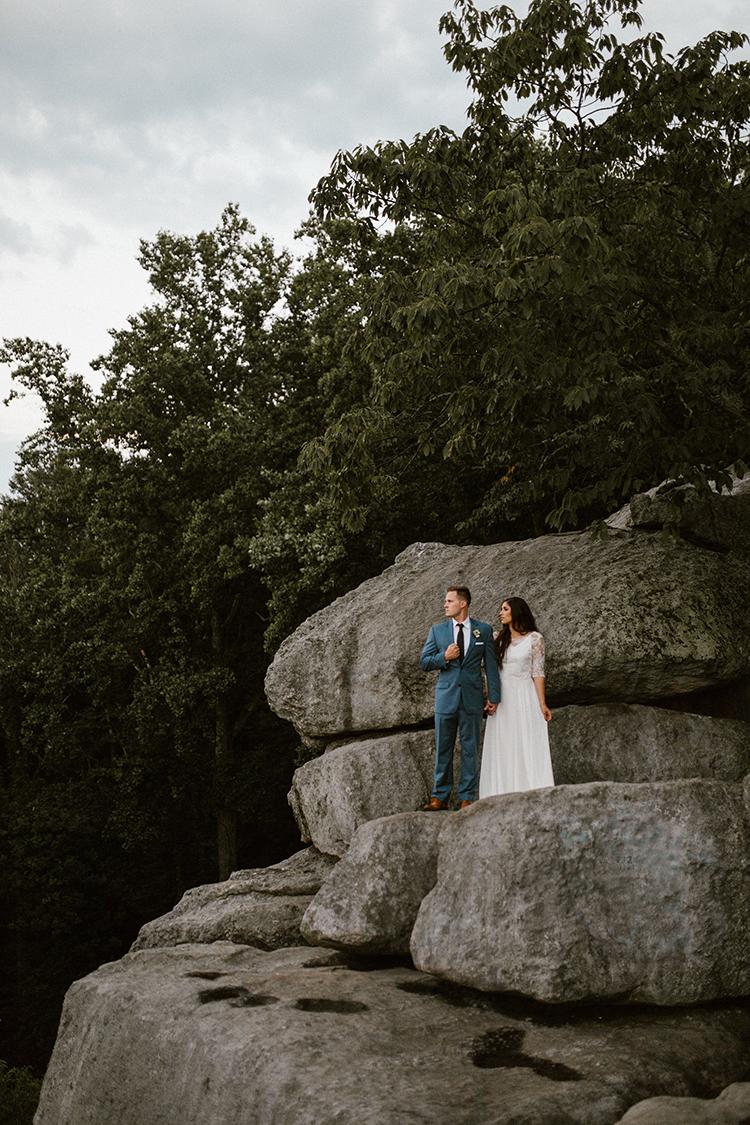 mountaintop wedding portraits - photo by Victoria Selman https://ruffledblog.com/foggy-mountaintop-elopement-inspiration-with-macrame
