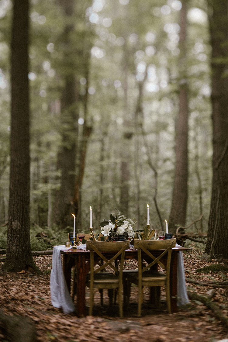 forest wedding receptions - photo by Victoria Selman https://ruffledblog.com/foggy-mountaintop-elopement-inspiration-with-macrame