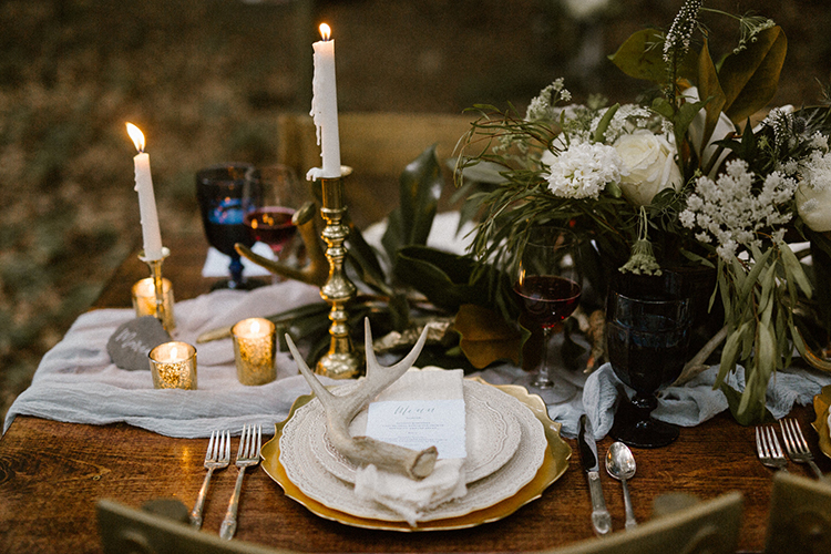 wedding tablescapes - photo by Victoria Selman https://ruffledblog.com/foggy-mountaintop-elopement-inspiration-with-macrame