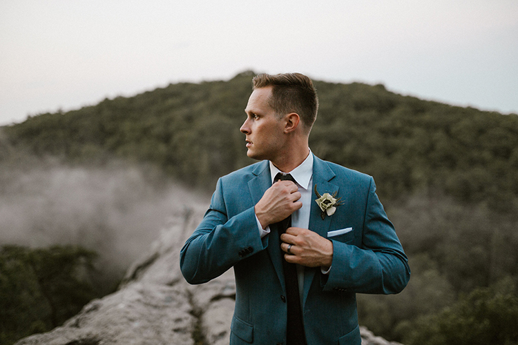 groom wedding suits - photo by Victoria Selman https://ruffledblog.com/foggy-mountaintop-elopement-inspiration-with-macrame