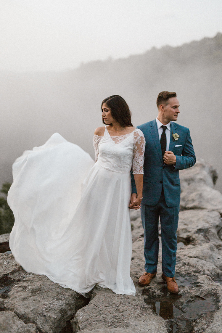 lace wedding dresses - photo by Victoria Selman https://ruffledblog.com/foggy-mountaintop-elopement-inspiration-with-macrame