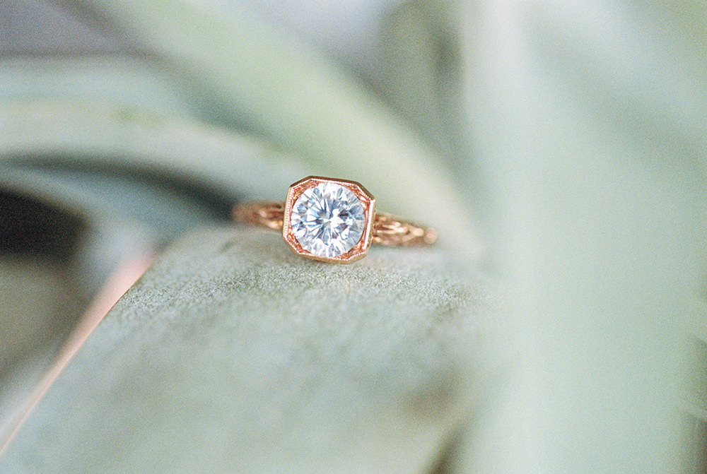 unique gold engagement rings - photo by Alexis June Weddings http://ruffledblog.com/for-the-love-of-copper-wedding-inspiration