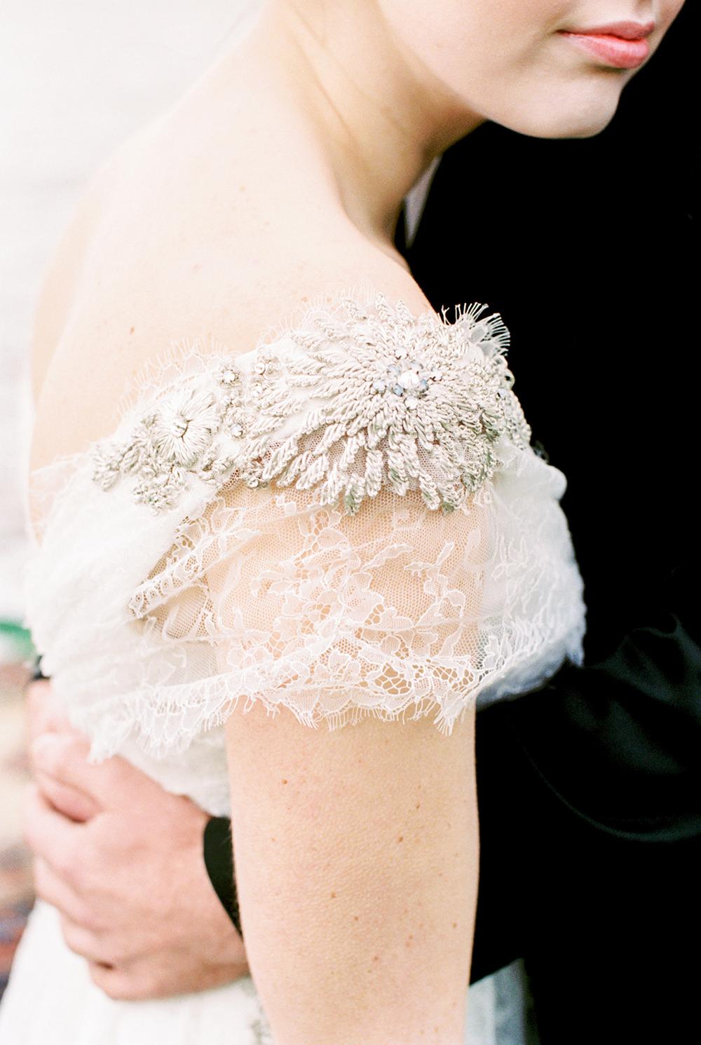 wedding dress details - photo by Alexis June Weddings http://ruffledblog.com/for-the-love-of-copper-wedding-inspiration