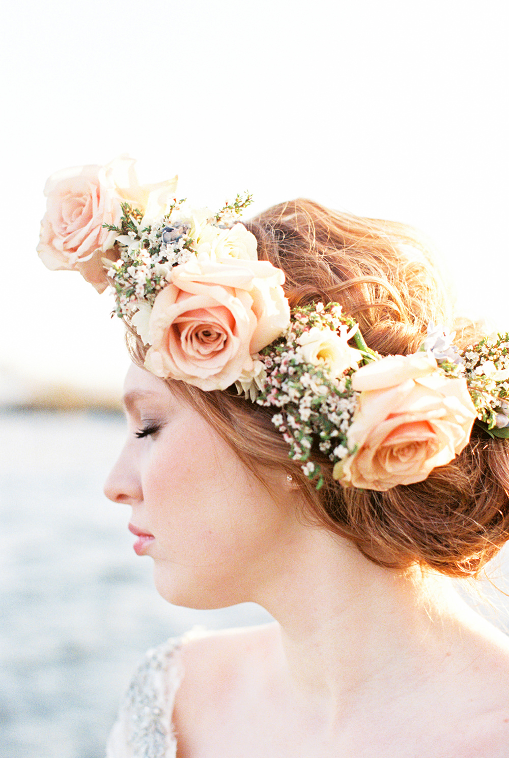 rose flower crowns - photo by Alexis June Weddings https://ruffledblog.com/for-the-love-of-copper-wedding-inspiration