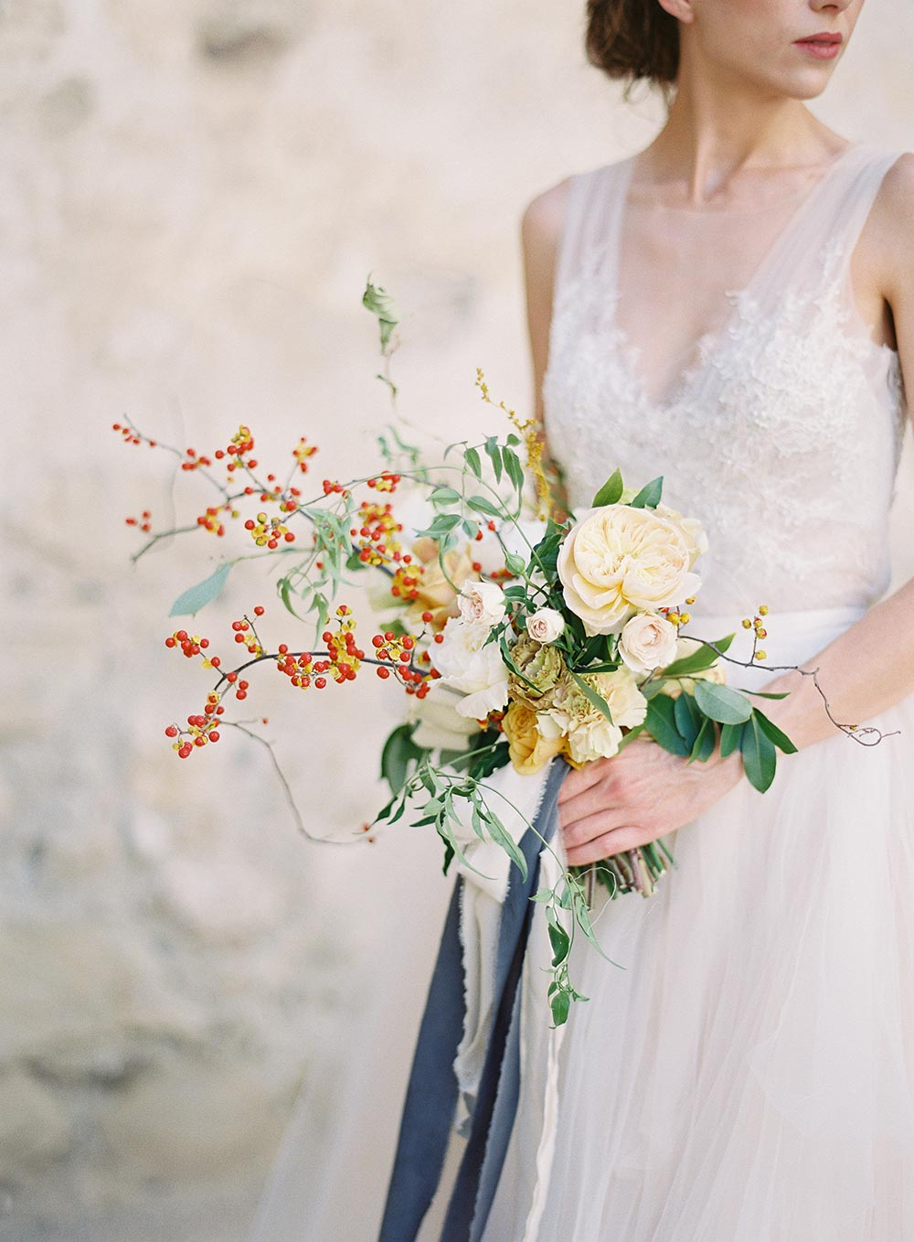 natural cream bridal bouquet with berry stems