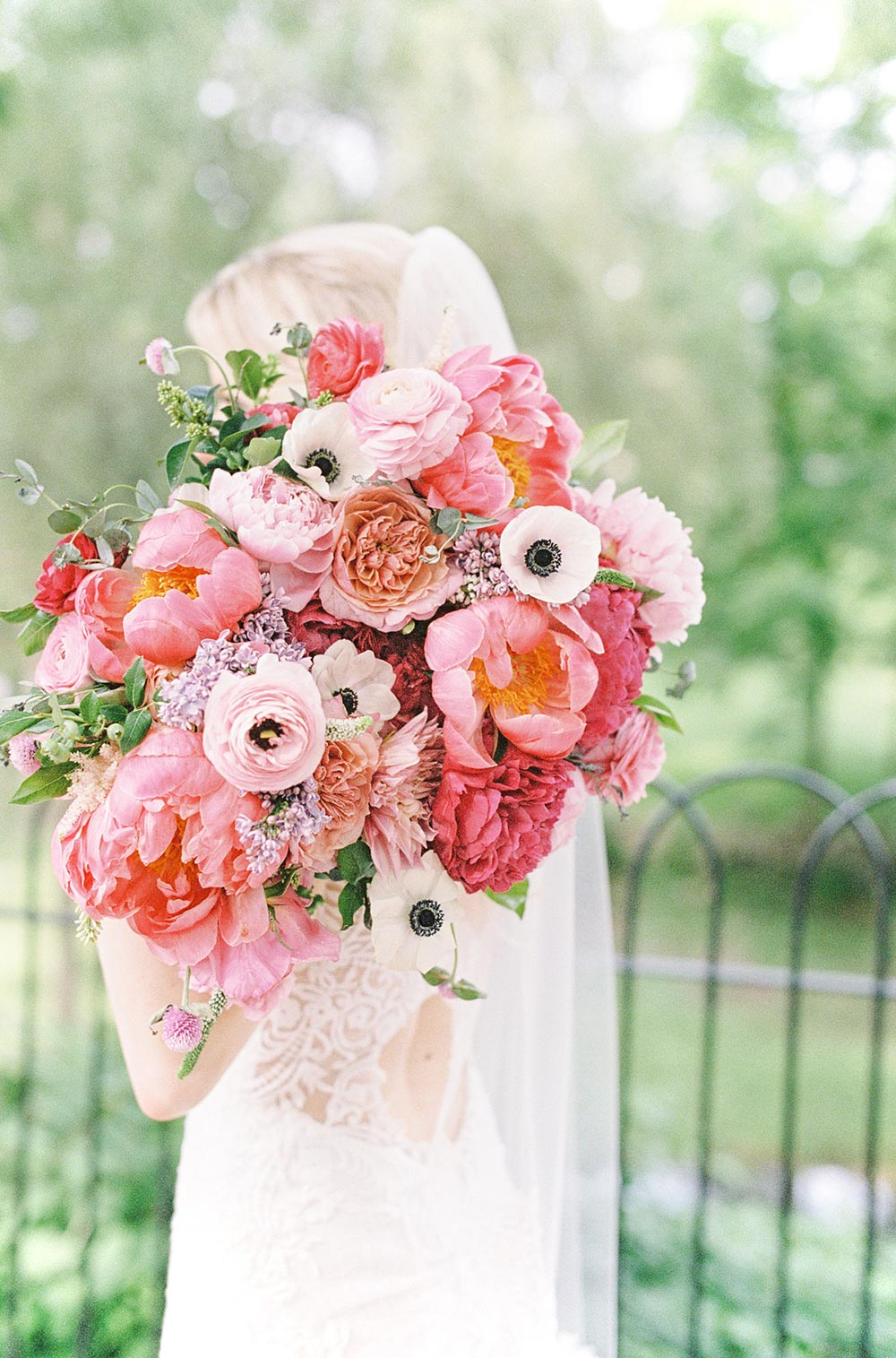 summer bridal bouquet with pink peonies and anemones
