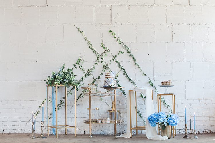 wedding cake tables - photo by Natalie Bray Photography https://ruffledblog.com/french-provencal-wedding-inspiration-with-geometric-accents