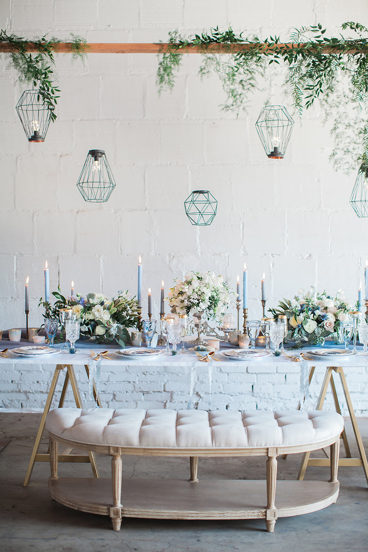 romantic wedding receptions with geometric accents - photo by Natalie Bray Photography https://ruffledblog.com/french-provencal-wedding-inspiration-with-geometric-accents