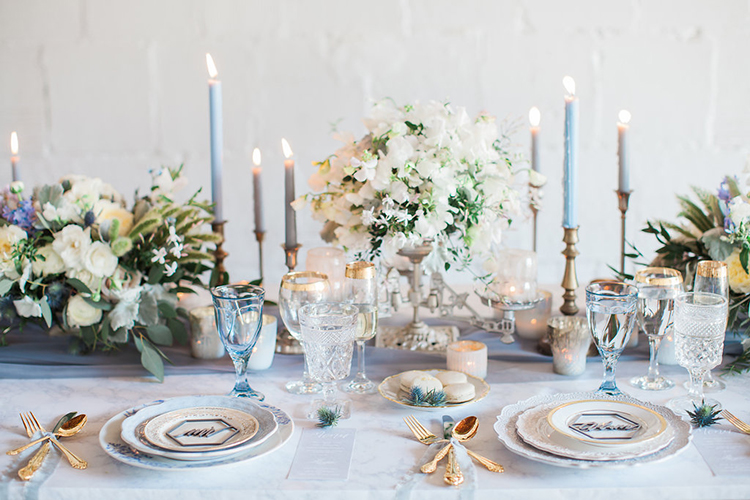 wedding tables - photo by Natalie Bray Photography https://ruffledblog.com/french-provencal-wedding-inspiration-with-geometric-accents