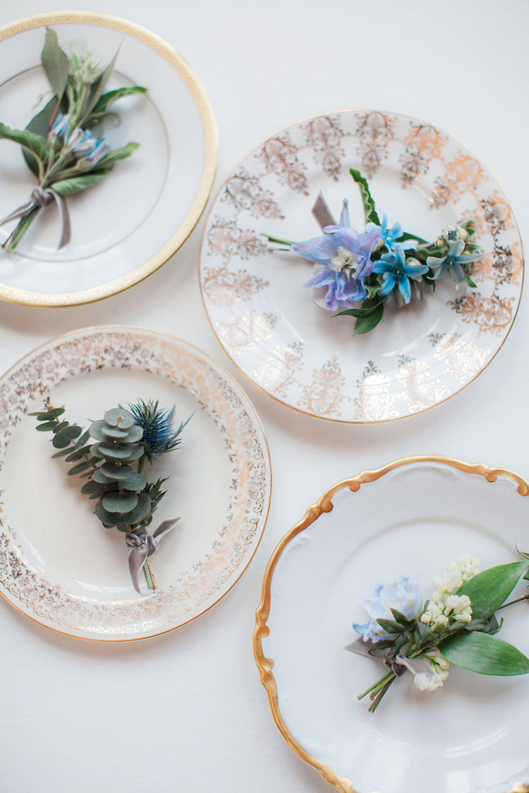 vintage inspired dessert plates - photo by Natalie Bray Photography https://ruffledblog.com/french-provencal-wedding-inspiration-with-geometric-accents