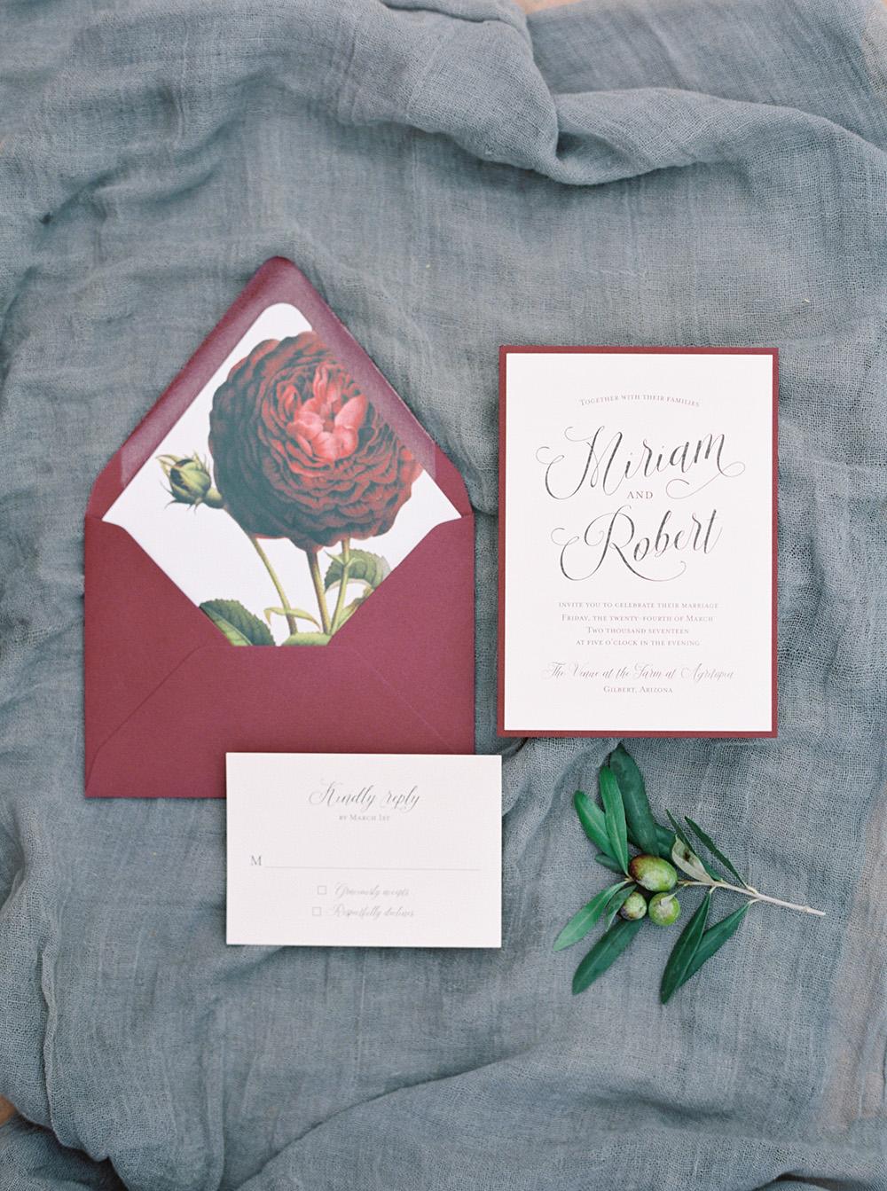 burgundy wedding invitations - photo by Melissa Jill http://ruffledblog.com/fruit-filled-vineyard-wedding-inspiration