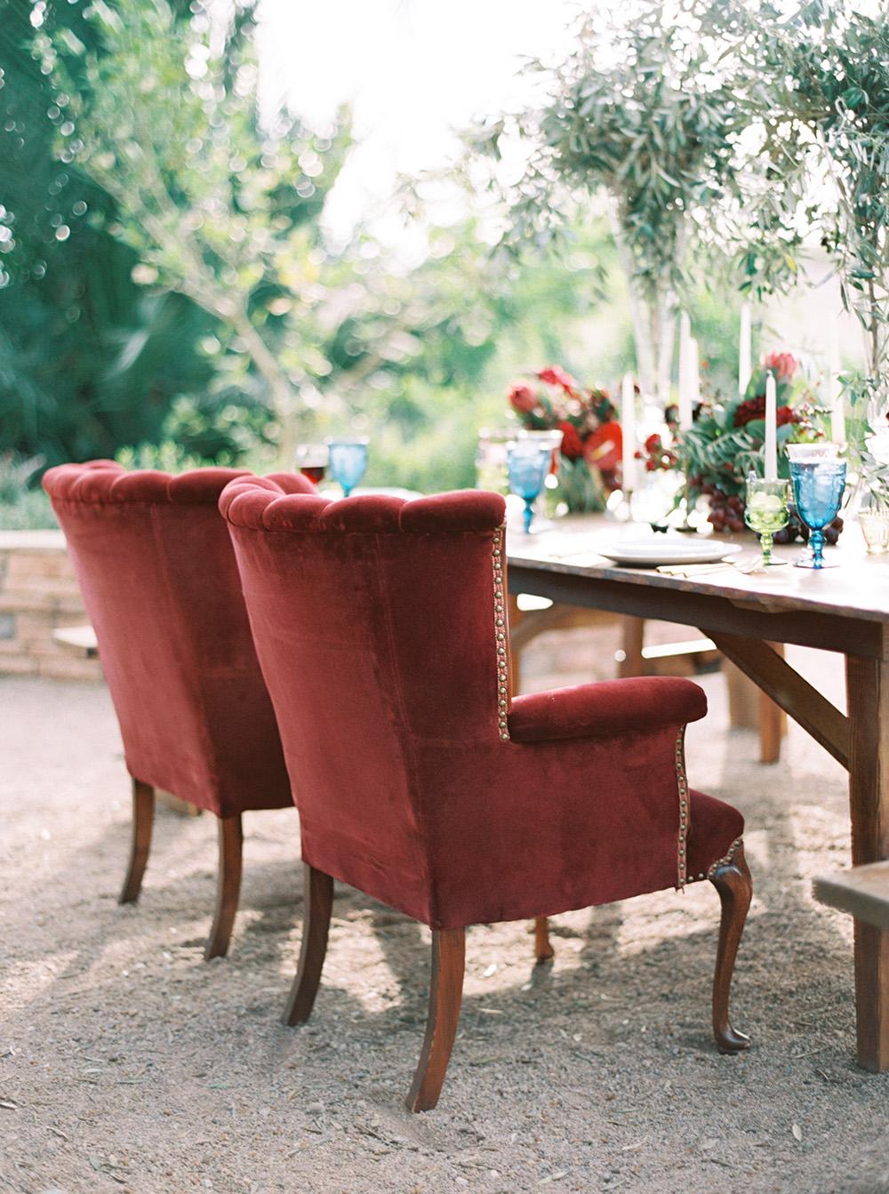 wedding chairs - photo by Melissa Jill http://ruffledblog.com/fruit-filled-vineyard-wedding-inspiration