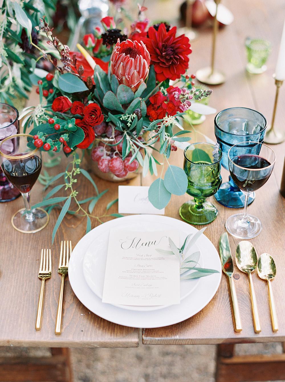 romantic table settings - photo by Melissa Jill http://ruffledblog.com/fruit-filled-vineyard-wedding-inspiration