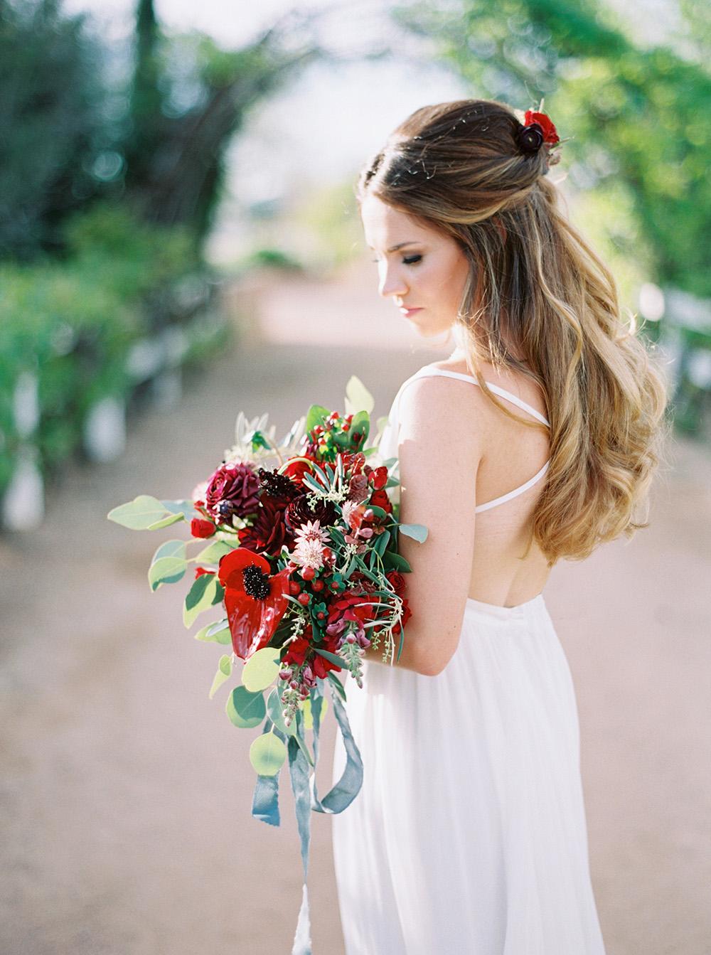 bridal bouquets - photo by Melissa Jill http://ruffledblog.com/fruit-filled-vineyard-wedding-inspiration
