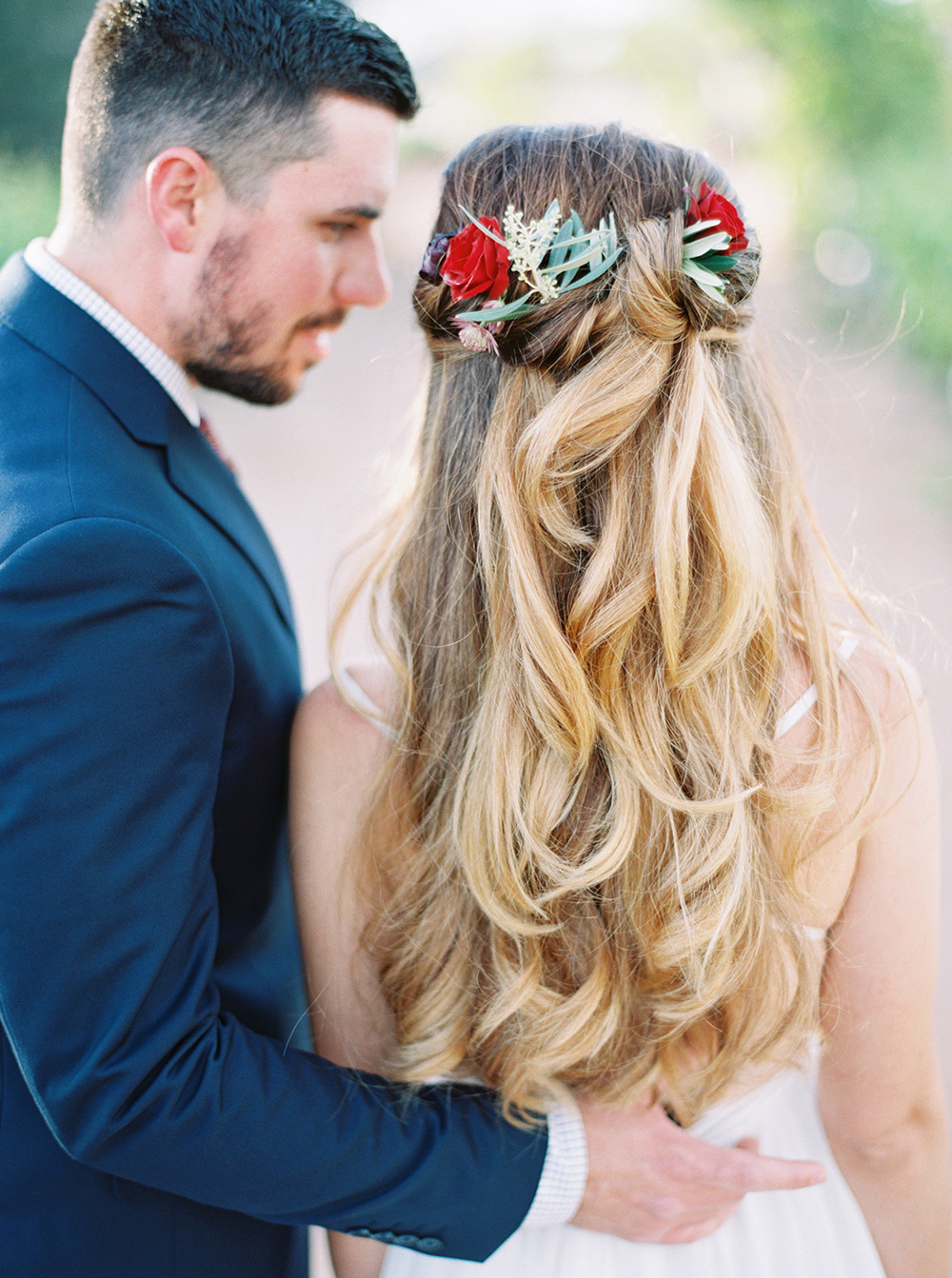 wedding hair - photo by Melissa Jill http://ruffledblog.com/fruit-filled-vineyard-wedding-inspiration