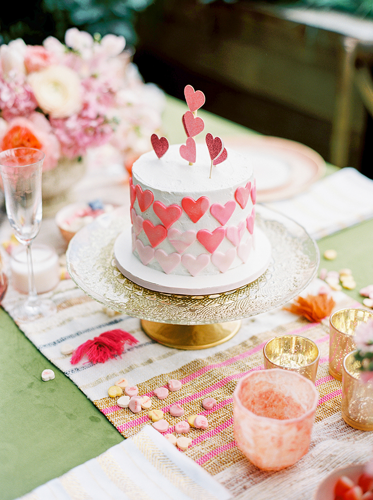 cakes with hearts - photo by Danielle Poff Photography http://ruffledblog.com/fun-and-flirty-bridal-shower-inspiration