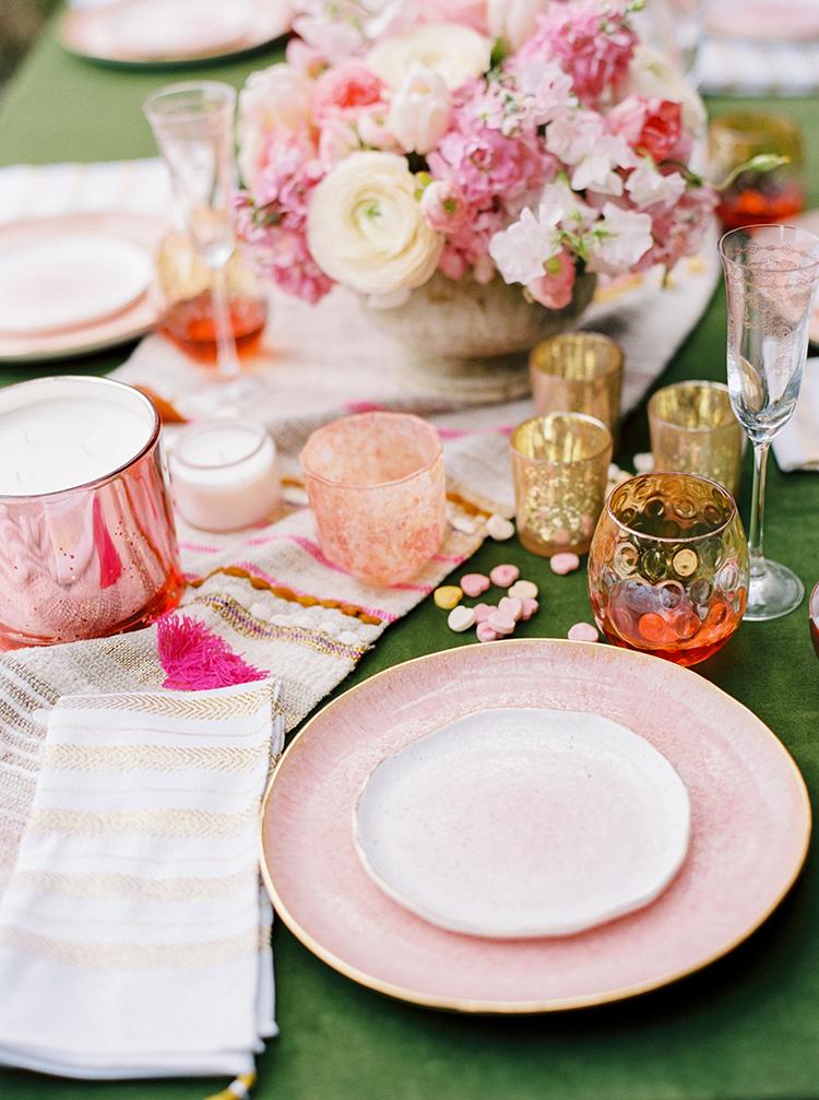 pink wedding tables - photo by Danielle Poff Photography http://ruffledblog.com/fun-and-flirty-bridal-shower-inspiration