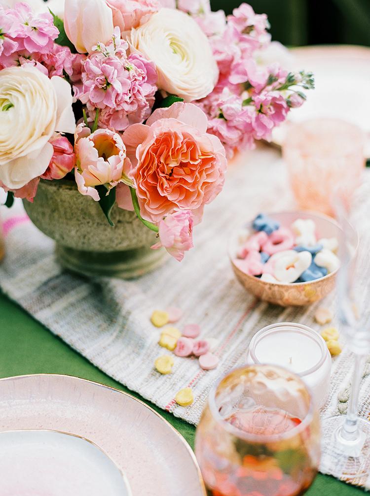 wedding centerpieces - photo by Danielle Poff Photography http://ruffledblog.com/fun-and-flirty-bridal-shower-inspiration