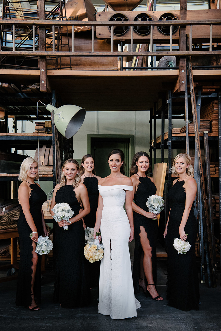Fun Black Tie Warehouse Wedding in Melbourne - photo by Jerome Cole http://ruffledblog.com/fun-black-tie-warehouse-wedding-in-melbourne
