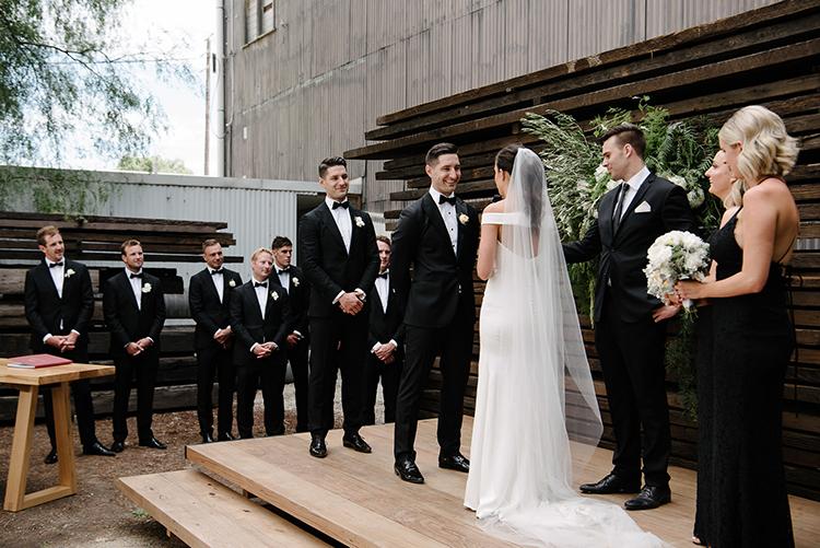 wedding ceremonies - photo by Jerome Cole http://ruffledblog.com/fun-black-tie-warehouse-wedding-in-melbourne