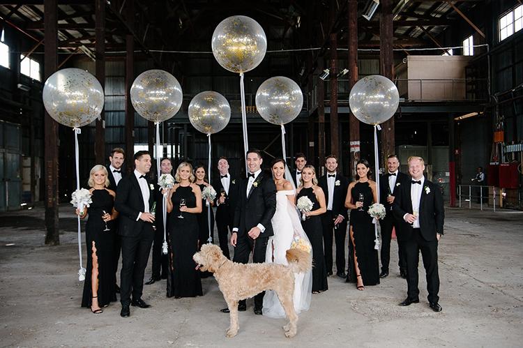 black tie weddings - photo by Jerome Cole https://ruffledblog.com/fun-black-tie-warehouse-wedding-in-melbourne