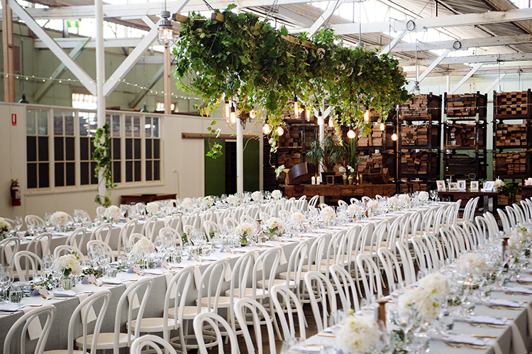 indoor warehouse weddings - photo by Jerome Cole https://ruffledblog.com/fun-black-tie-warehouse-wedding-in-melbourne