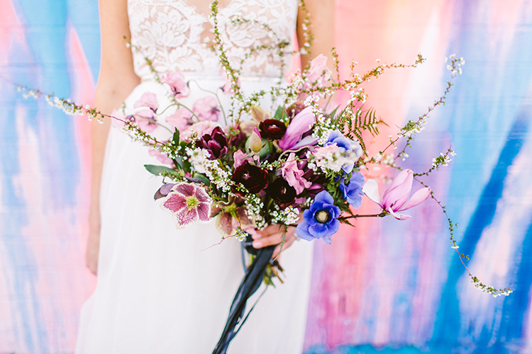 berry toned bouquets - photo by Redfield Photography http://ruffledblog.com/fun-wedding-celebration-at-brooklyn-winery