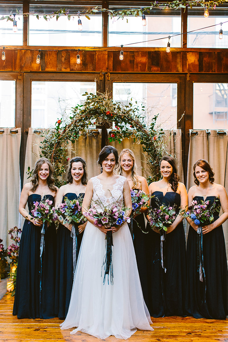 bridesmaids - photo by Redfield Photography https://ruffledblog.com/fun-wedding-celebration-at-brooklyn-winery