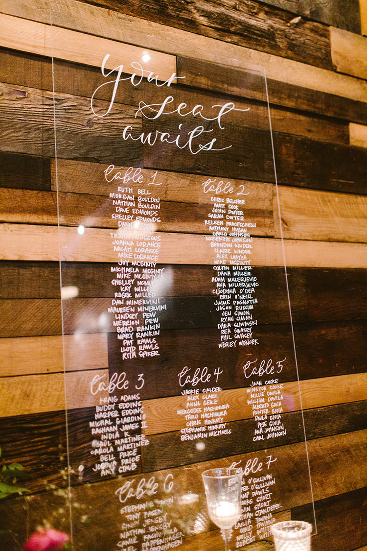 seating charts - photo by Redfield Photography https://ruffledblog.com/fun-wedding-celebration-at-brooklyn-winery