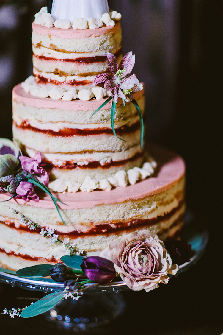 naked wedding cakes - photo by Redfield Photography http://ruffledblog.com/fun-wedding-celebration-at-brooklyn-winery