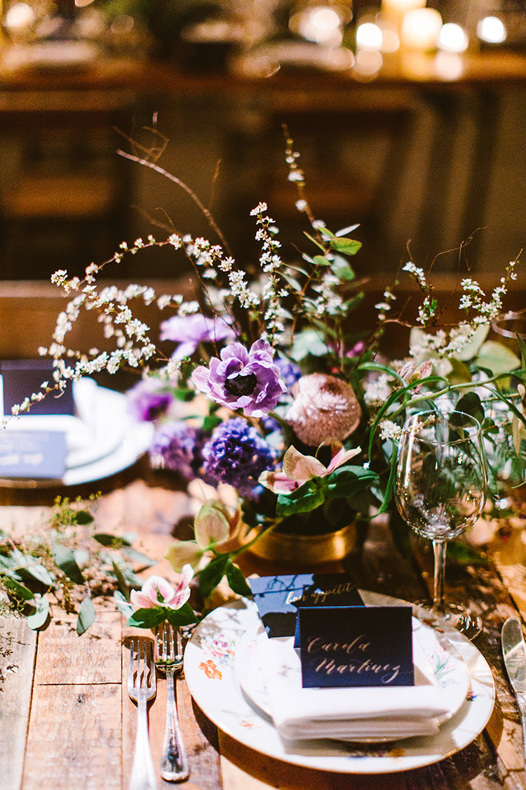 floral centerpieces - photo by Redfield Photography http://ruffledblog.com/fun-wedding-celebration-at-brooklyn-winery