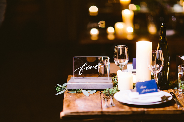 table numbers - photo by Redfield Photography https://ruffledblog.com/fun-wedding-celebration-at-brooklyn-winery