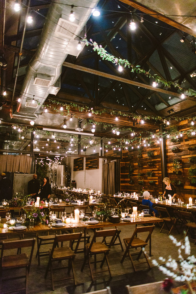 romantic wedding receptions - photo by Redfield Photography https://ruffledblog.com/fun-wedding-celebration-at-brooklyn-winery