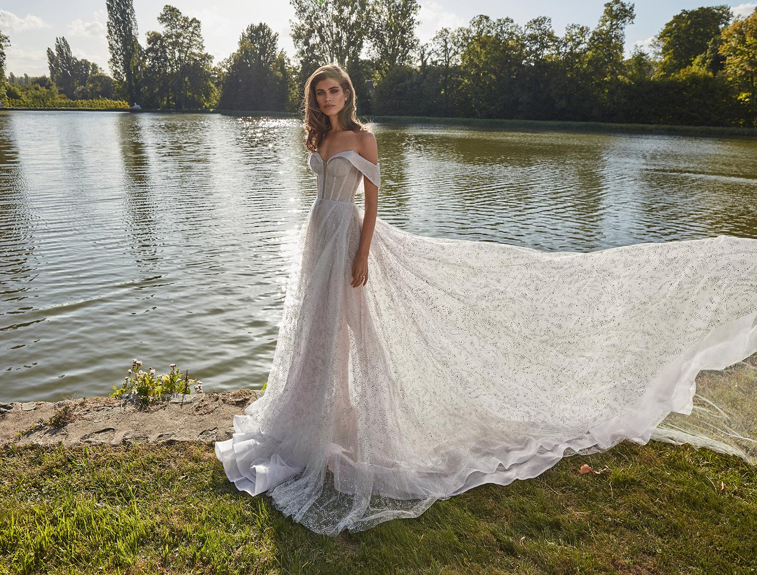 off the shoulder wedding dress with glitzy beading