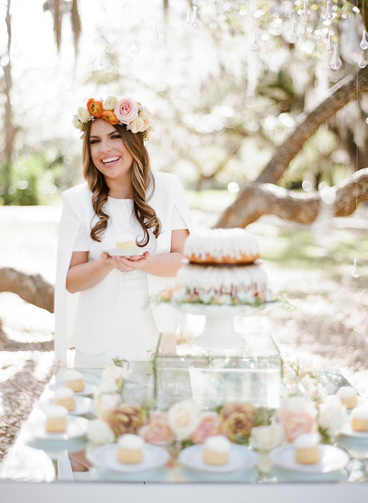 This April Bridal Shower Brings a May Wedding - photo by Arte de Vie https://ruffledblog.com/garden-bridal-shower-with-hanging-umbrellas