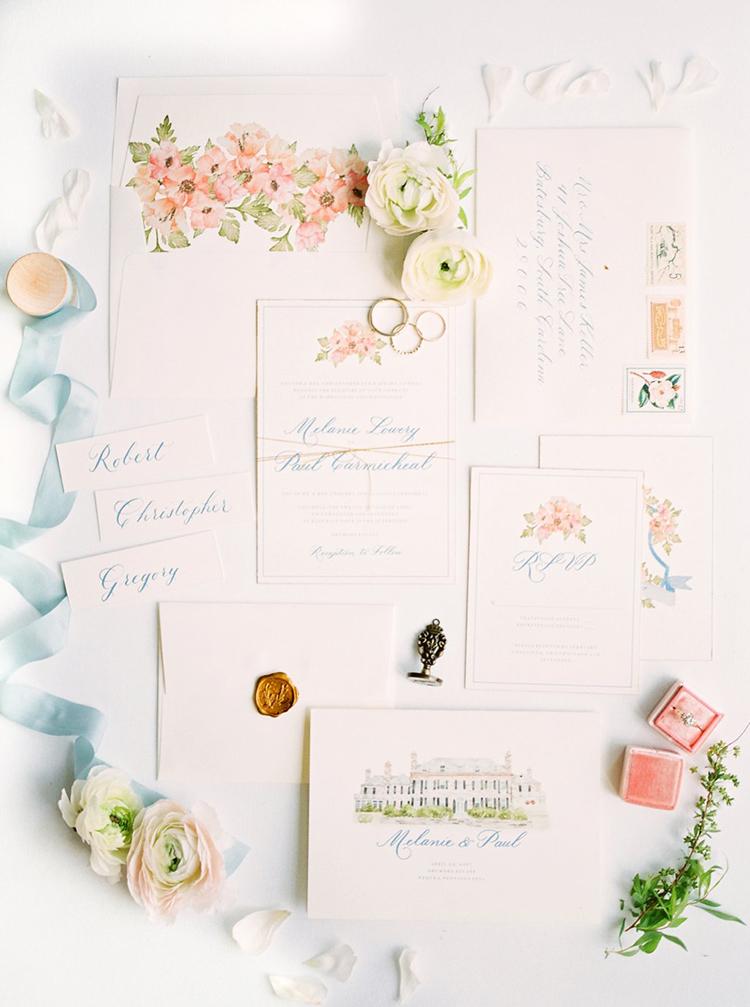 romantic wedding invitations - photo by Hillary Muelleck Photography http://ruffledblog.com/garden-estate-wedding-inspiration-with-delicate-poppies