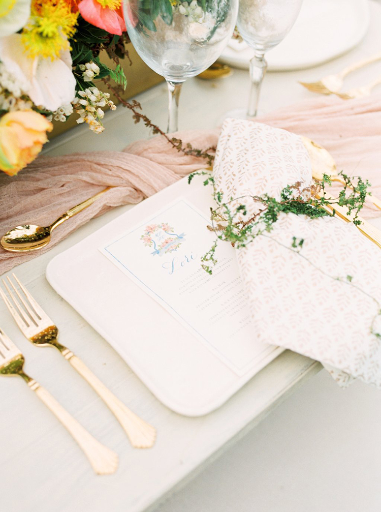romantic place settings - photo by Hillary Muelleck Photography http://ruffledblog.com/garden-estate-wedding-inspiration-with-delicate-poppies