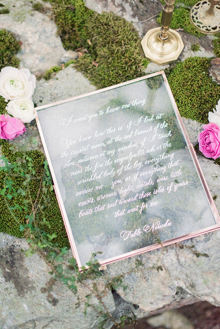 wedding signage - photo by Hillary Muelleck Photography http://ruffledblog.com/garden-estate-wedding-inspiration-with-delicate-poppies