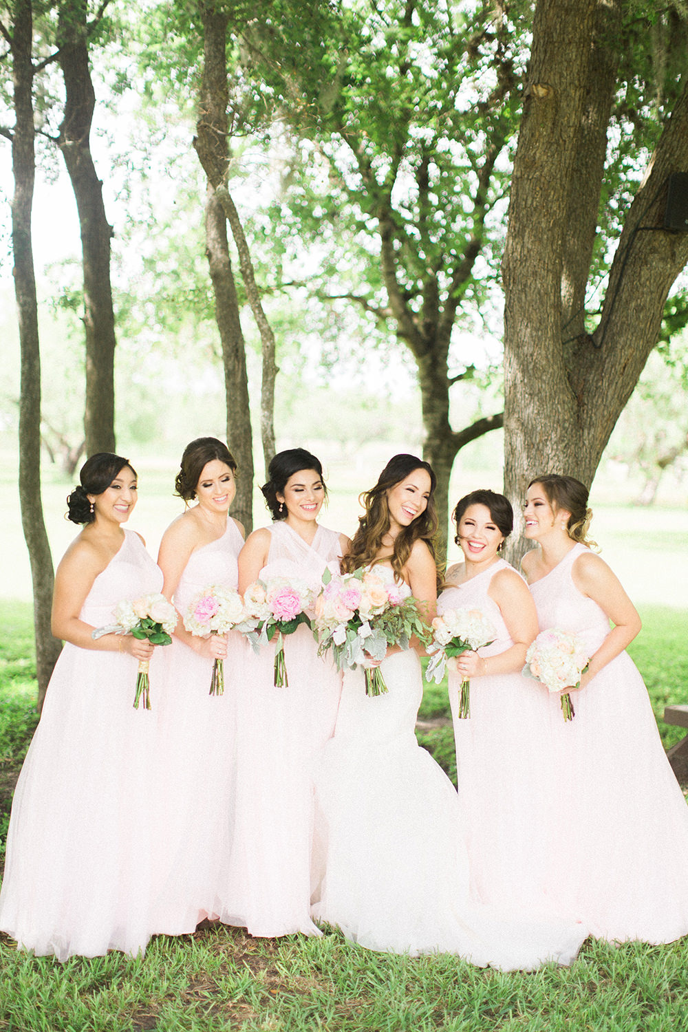 bridal party in light pink