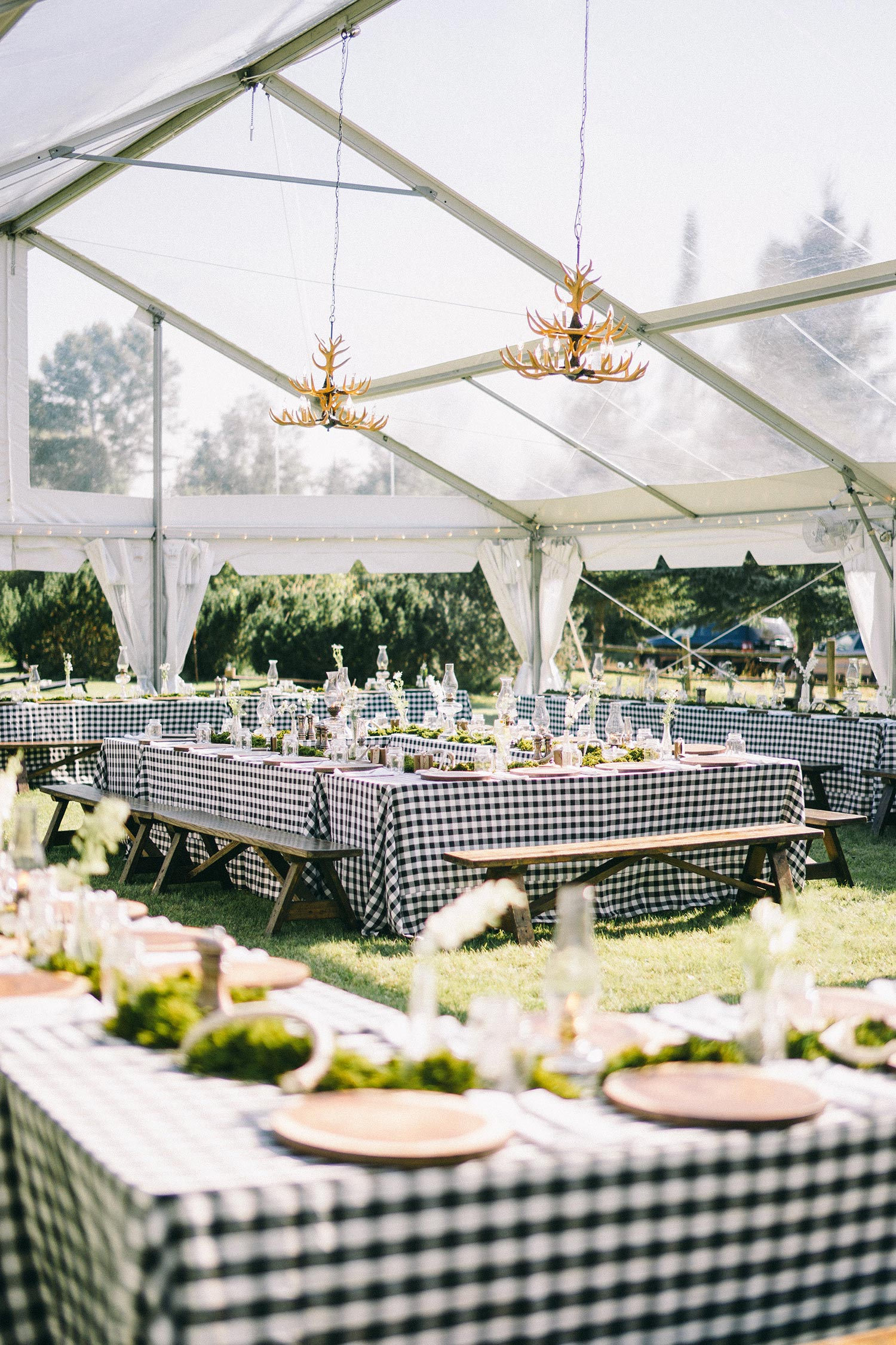 ranch style rehearsal dinner in clear tent